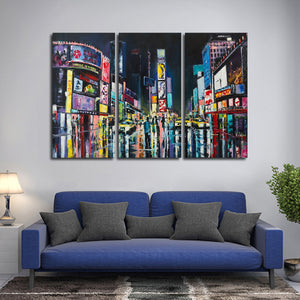 Times Square at Night Multi Panel Canvas Wall Art - Abstract