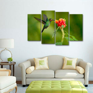 Tiny Hummingbird Multi Panel Canvas Wall Art - Bird