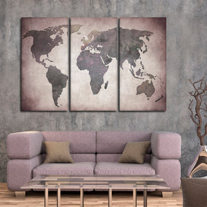 Titanium World Map Multi Panel Canvas Wall Art - World_map