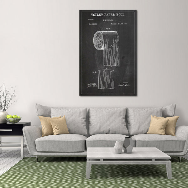 Toilet Paper Roll Patent BW Canvas Wall Art