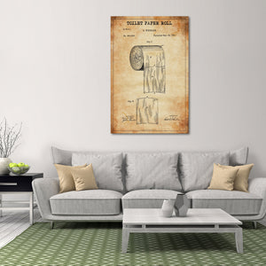 Toilet Paper Roll Patent Canvas Wall Art - Patent