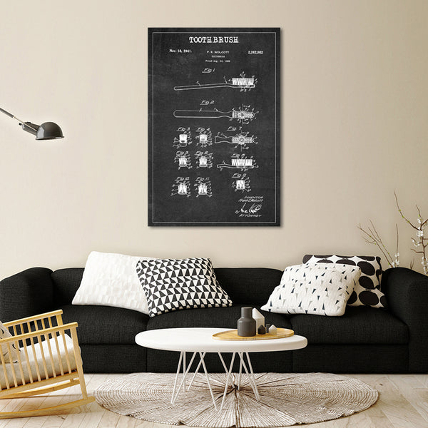 Toothbrush Patent BW Canvas Wall Art