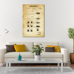 Toothbrush Patent Canvas Wall Art - Dental