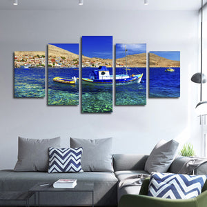 Traditional Greek Fishing Boat Multi Panel Canvas Wall Art - Boat