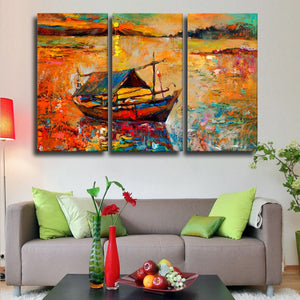 Traditional Fishing Boat Multi Panel Canvas Wall Art - Fishing
