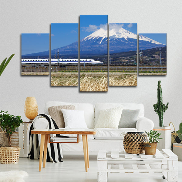 Train At Mount Fuji Multi Panel Canvas Wall Art