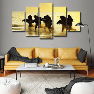 Training Day Multi Panel Canvas Wall Art - Army