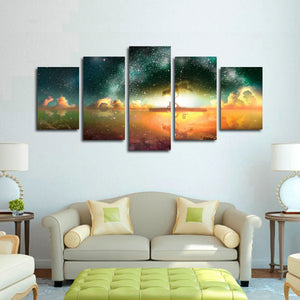 Tree Under Stars Multi Panel Canvas Wall Art - Astronomy