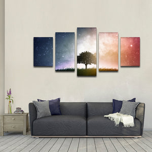 Tree Beneath The Galaxy Multi Panel Canvas Wall Art - Astronomy