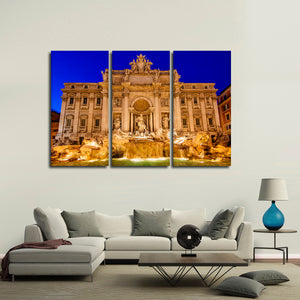 Trevi Fountain At Dawn Multi Panel Canvas Wall Art - City