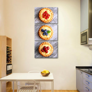 Triple Tart Multi Panel Canvas Wall Art - Kitchen