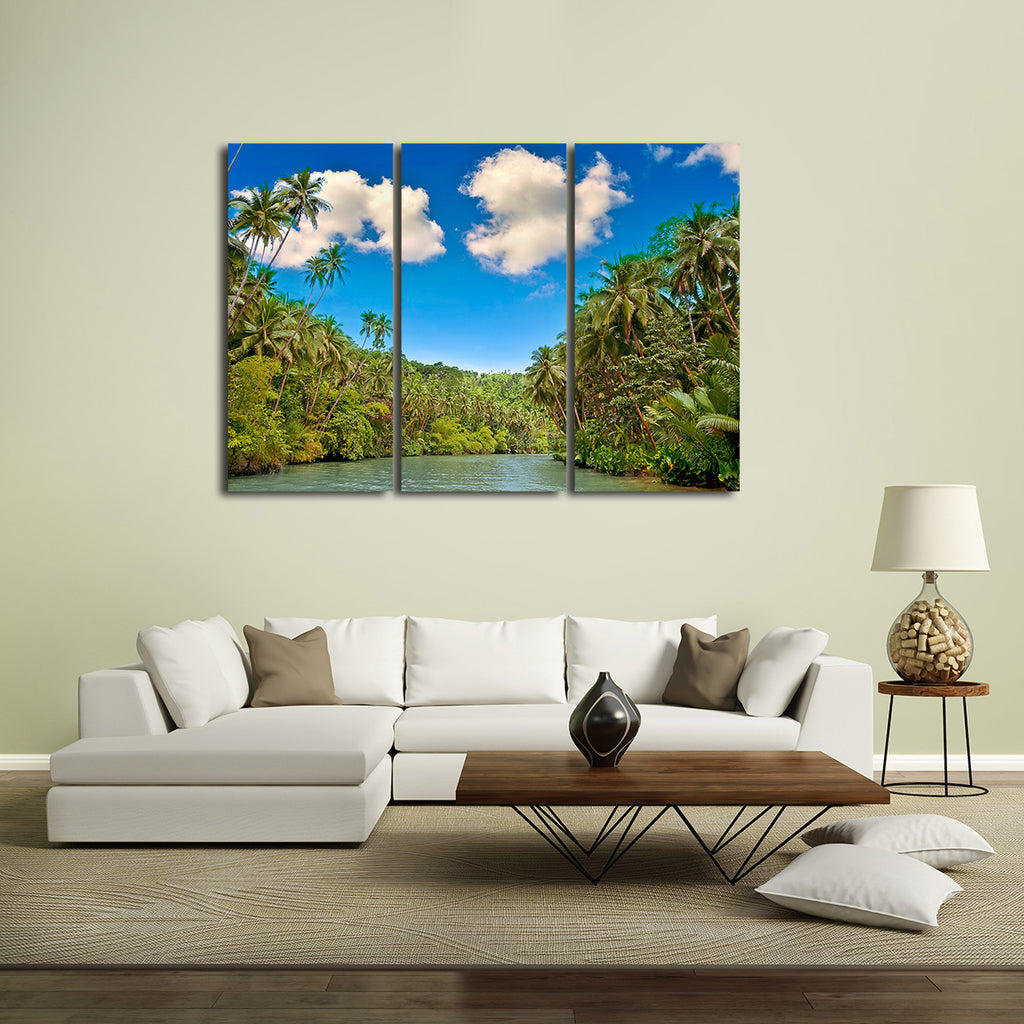 Tropical River Multi Panel Canvas Wall Art Elephantstock