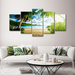 Tropical Beach Multi Panel Canvas Wall Art - Beach