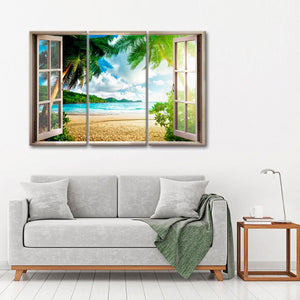 Tropical Beach View Multi Panel Canvas Wall Art - Beach