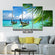 Tropical Boat Multi Panel Canvas Wall Art