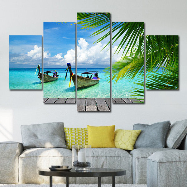 Teal Canvas Wall Art tropical boat multi panel canvas wall art – elephantstock