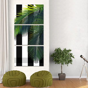 Tropical Green Palm Multi Panel Canvas Wall Art - Botanical