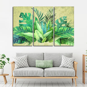 Tropical Greenery Multi Panel Canvas Wall Art - Botanical