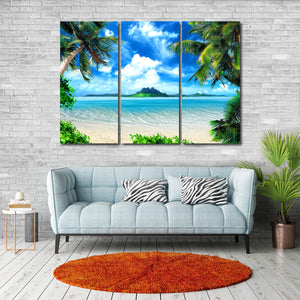 Tropical Island Multi Panel Canvas Wall Art - Beach