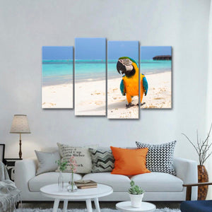 Tropical Parrot Multi Panel Canvas Wall Art - Bird
