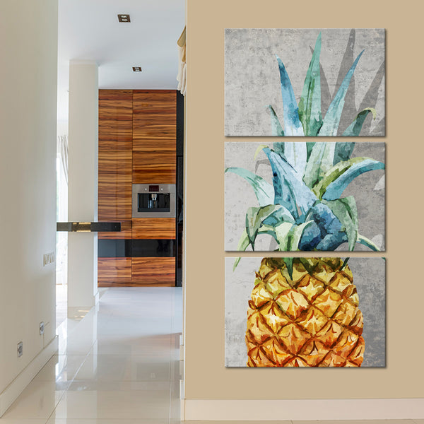 Tropical Pineapple Multi Panel Canvas Wall Art