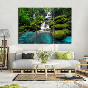 Tropical Waterfall Multi Panel Canvas Wall Art - Nature