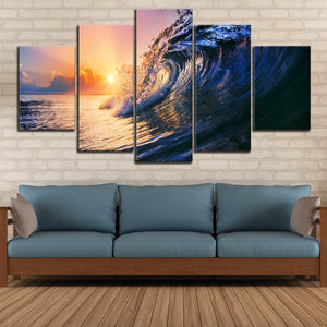 Tropical Wave Multi Panel Canvas Wall Art - Surfing