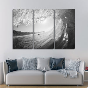 Tube Wave Multi Panel Canvas Wall Art - Surfing