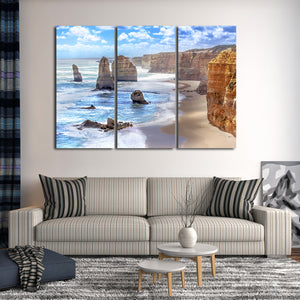 Twelve Apostles View Multi Panel Canvas Wall Art - Beach