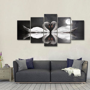 Two Swan Lovers Multi Panel Canvas Wall Art - Relationship
