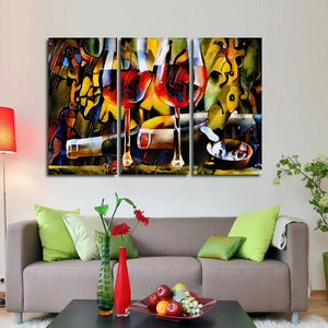 Two Wine Glasses Multi Panel Canvas Wall Art - Winery