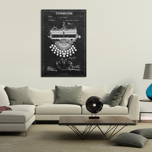 Typewriter Patent BW Canvas Wall Art - Professions