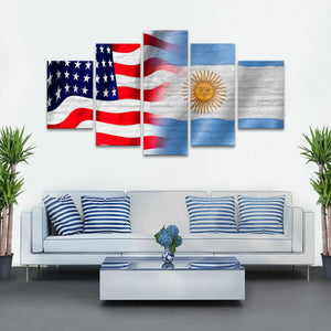 USA and Argentina Flag Multi Panel Canvas Wall Art - Argentina