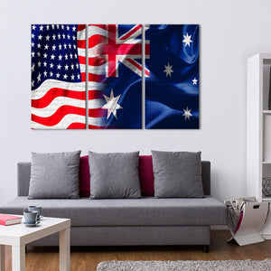 USA and Australia Flag Multi Panel Canvas Wall Art - Australia