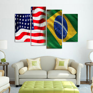 USA and Brazil Flag Multi Panel Canvas Wall Art - Brazil