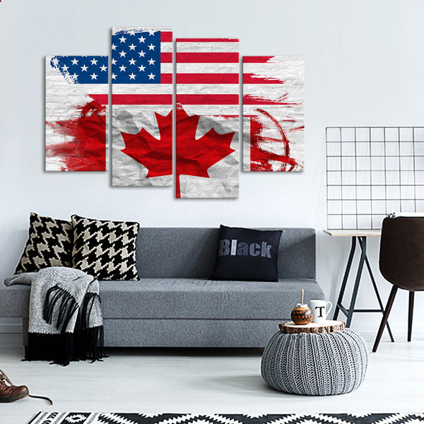 USA And Canada Flag Multi Panel Canvas Wall Art