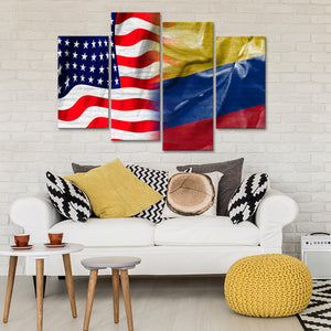 USA and Colombia Flag Multi Panel Canvas Wall Art - Colombia