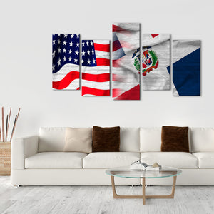 USA and Dominican Republic Flag Multi Panel Canvas Wall Art - Dominican_republic