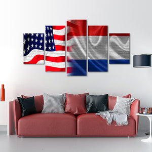 USA and Dutch Flag Multi Panel Canvas Wall Art