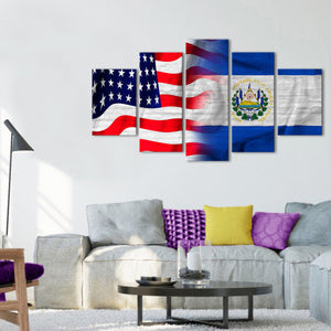 USA and El Salvador Flag Multi Panel Canvas Wall Art