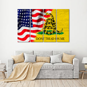 USA and Gadsden Flag Multi Panel Canvas Wall Art