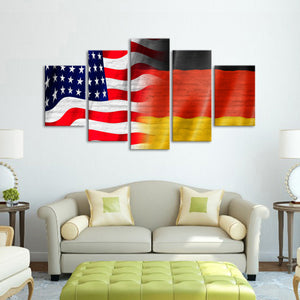 USA and Germany Flag Multi Panel Canvas Wall Art - Germany
