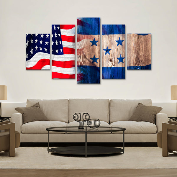 USA and Honduras Flag Multi Panel Canvas Wall Art