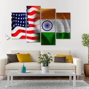 USA and India Flag Multi Panel Canvas Wall Art - India