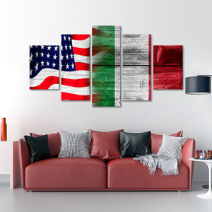 USA and Italy Flag Multi Panel Canvas Wall Art - Italy