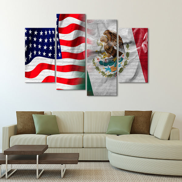 USA and Mexico Flag Multi Panel Canvas Wall Art