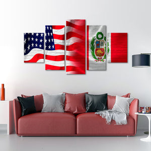 USA and Peru Flag Multi Panel Canvas Wall Art - Peru