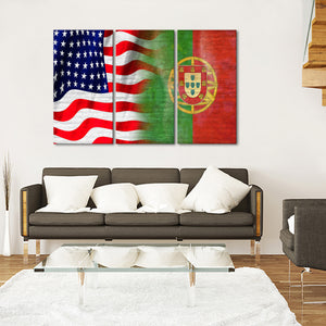 USA and Portugal Flag Multi Panel Canvas Wall Art - Portugal