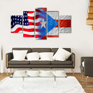 USA and Puerto Rico Flag Multi Panel Canvas Wall Art - Puerto_rico