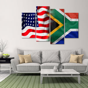 USA and South Africa Flag Multi Panel Canvas Wall Art - South_africa